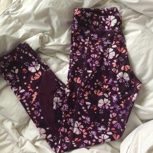 🛍 Purple floral yoga pants